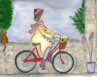 On yer bike Ethel. Beautiful, Quirky Art Print full of Love, Life and Hope. Signed Open Edition Print.