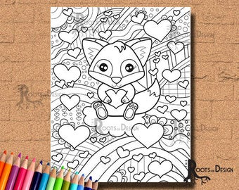 INSTANT DOWNLOAD Coloring Page -  Fox with Hearts Valentine Art Print, doodle art, printable