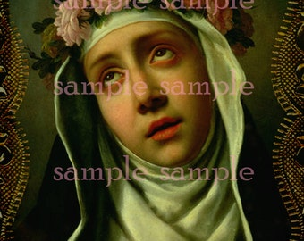 Antique Painting Instant Digital DOWNLOAD Antique Holy Prayer Card Madonna Mother Mary Victorian Collage sheet Religious Download