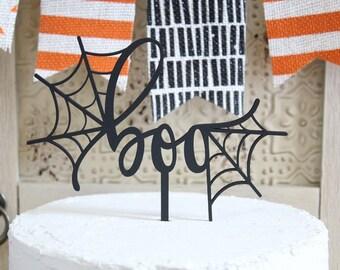 boo Cake Topper Halloween Cake Topper Halloween Party Decor Spider Web
