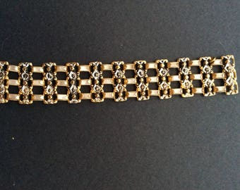 Triple Row Mother of Pearl and Gold Tone Bracelet [SKU144]