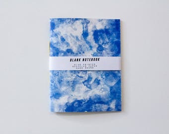 Notebook - Risograph Printed note book, light blue ink painting design. Blank inside, recycled paper, A6. Hand Bound, yellow cotton.