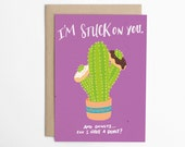Funny Love Card - Stuck on You (And Donuts) - Love Cards, Anniversary Card, Cactus Card, Card for Boyfriend, Card for Girlfriend/C-274