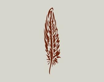 Feather. Feather stencil. (Ref 128) adhesive vinyl stencil