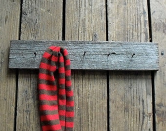 Vintage Wood Rack  : Upcycled from Salvaged Wood and Antique Nails, Hat Rack, vintage organization .