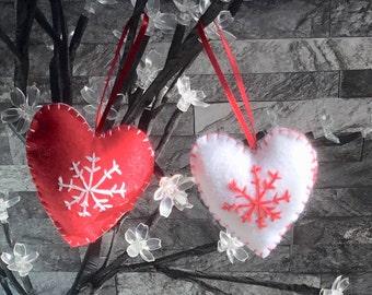 Felt heart decoration, Christmas decoration, embroidered heart, holiday decor, Christmas decor, tree decoration, felt heart, set of 2