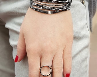 Layered Silver Bracelet, Oxidized Silver Necklace, Multichain Necklace, Wrap Chain Bracelet, Glitter Bracelet, Silver Chain Bracelet, 925