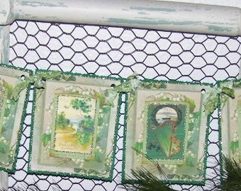 St. Patrick's Day Banner Handmade Vintage Style St. Patrick's Banner Garland Bunting