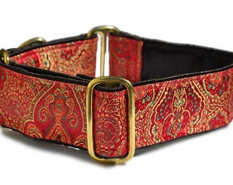 """Martingale Dog Collar or Buckle Dog Collar - Custom Dog Collar - Wide Martingale Collar -  Orleans Brocade in Red - 1.5"""" Wide"""