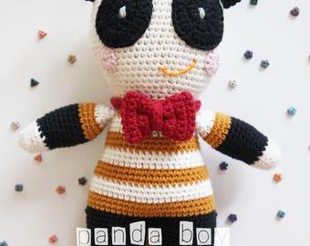 Panda Boy Amigurumi Pattern, Panda Amigurumi Pattern, Panda, Panda Amigurumi PDF Pattern, Panda Crochet Pattern