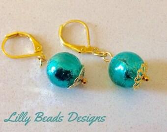 Green Dangle Earrings,Venetian Glass Drop Earrings,Green Glass Earrings,Gold Foil Lined Earrings,Green Round Earrings,Gold Earrings