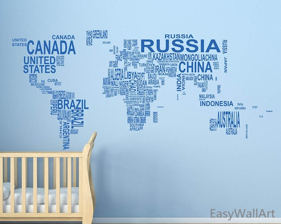 World map wall decal world map with coutry name decal like this item gumiabroncs Gallery