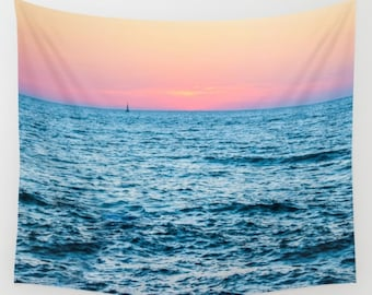 Pink Sunset Tapestry Sea Tapestry Water Tapestry Photo Tapestry Sea View Tapestry Wall Hanging Sky Tapestry Sea Tapestry Tel Aviv Tapestry