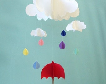 Baby Mobile - Rain Baby Mobile, Umbrella Baby Mobile, Raindrops Hanging Baby Mobile, 3D Paper Mobile, Nursery Mobile