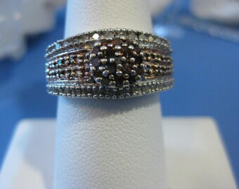 Chocolate and White diamond Ring sz 8