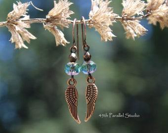 Angel Wings Earrings, Wing Earrings, Angel Wing Jewelry, Czech Glass Earrings, Christian Jewelry, Religious Jewelry, Angel Earrings, Wings