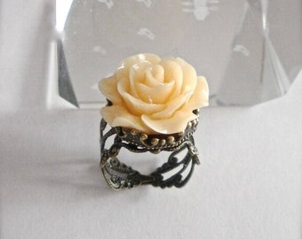 Ivory Rose Adjustable Ring, Ivory Rose Antique Brass Ring, Statement Ring, Rose Midi Ring, Rose Flower Ring Vintage Style Filigree Rose Ring