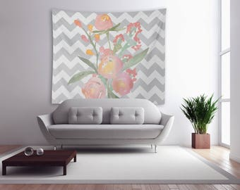 Watercolor Flowers Modern Wall Tapestry , Housewares , Office Decor , Home Decor