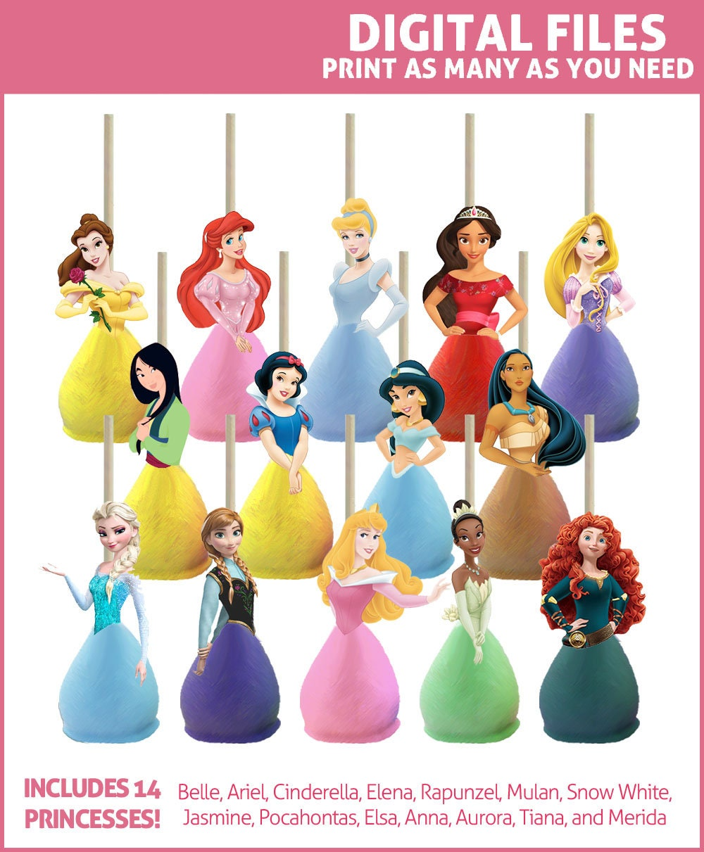 Disney Princess Cake Pop Toppers Printables DIGITAL All