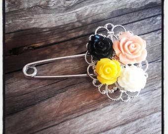 Orange and yellow flowers and silver filigree pin brooch