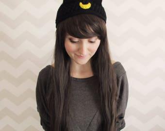 cat ears, headband, cat ears headband, sailor moon, anime, cosplay, knit, crochet, sailor moon cosplay, winter headband, luna, artemis