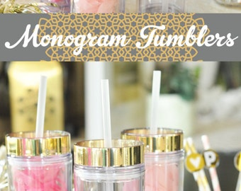 Personalized Tumbler Custom Tumbler Monogram Tumbler Decal Gift Womens Gift for Women w/ Tumbler Stickers Gifts for Mom & Friends  (EB3113)