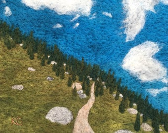 Climbing San Jacinto - Original Felted Wool Art of Landscape from California's San Jacinto Peak on Pacific Crest Trail