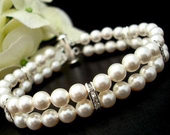 pearl bracelet, bridal bracelet, pearl rhinestone bracelet, wedding pearl bracelet, rhinestone bracelet, crystal bridal bracelet, FRANCESCA