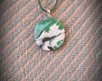 Abstract polymer clay necklace with a waxed cotton cord