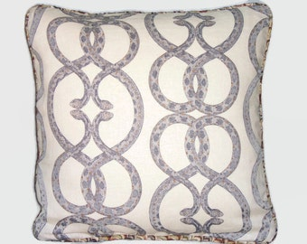 Snake Print Pillow Cover, Robert Allen Snake Chain Linen Desert Colors Reversible 17 Square Welted, Ready Ship