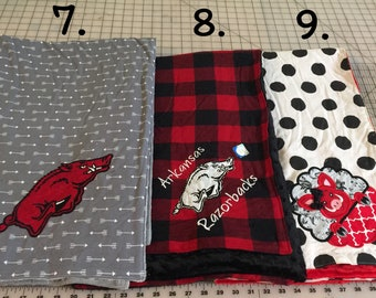Personalized Razorback Baby Blanket, Toddler blanket, gifts for baby, red buffalo plaid blanket, Hog Blankets, arkansas baby gifts, go hogs
