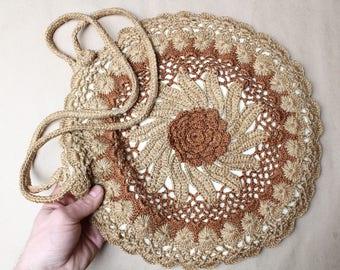 Cosette lace crochet purse.Chic round purse.Vintage inspired handbag.Boho wedding round crochet purse.Beige and brown bag.Women accessories.