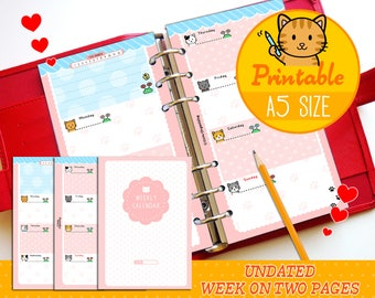 PRINTABLE A5 Size UNDATED Week On Two Pages Kitty Refills for Filofax A5 Kikki.K Large Planner Louis Vuitton GM Agenda Instant Download