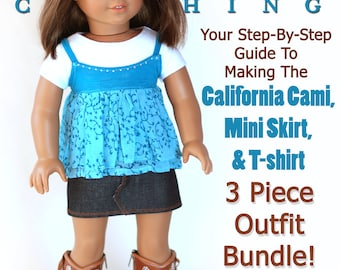 Pixie Faire Liberty Jane Cami and Mini Skirt Doll Clothes Pattern for 18 inch American Girl Dolls - PDF