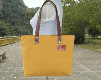 Golden canvas tote bag leather strap shoulder bag woemn diaper bag personalized tag travel bag zipper closure handbag purse, bridesmaid gift