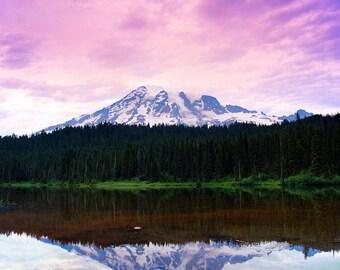 Mount Rainier Over Reflection Lake, Mt. Rainier National Park, Washington Color Matted Photograph in a Wood Frame