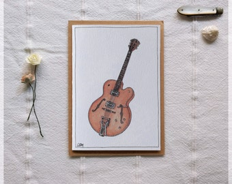 Archtop Guitar ~ Gift Card featuring Watercolour & Ink Illustration