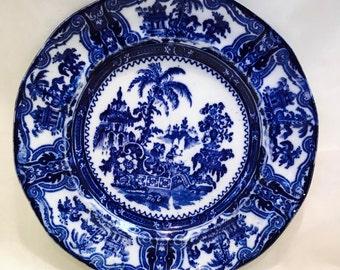 """Vintage Flow Blue Kyber 9"""" Plate"""