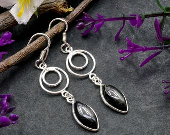 Natural Black Onyx Marquise Gemstone Drop Dangle Earring 925 Sterling Silver E68