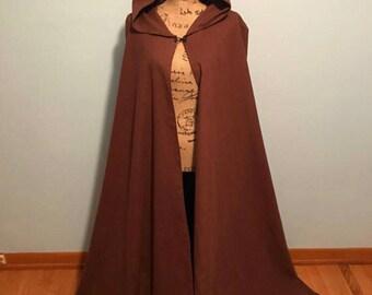 Brown hooded cloak, ren faire cloak, brown hooded cape, renaissance cloak, medieval cloak, lord of the rings cloak, fantasy cloak