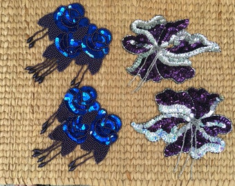 Sequin Patches, Appliques, purple, blue