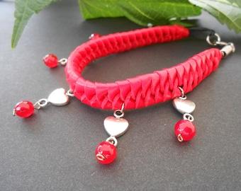 Red Leather Bracelet Red Agate Gemstone Bracelet Braided Leather Heart Charm Bracelet Summer Jewelry Friend Gifts Under 20 Bolivian Jewelry