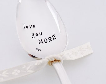Love You More Heart - Vintage Hand Stamped Spoon - Silver Plated Coffee Tea Gift Personalized Flatware Valentines Day Gift Customized Gift
