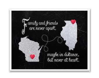 Long Distance Friend Gift   Downloadable PERSONALIZED Print   Customizable Map   BFF, Mom, Dad, Sister, Cousin, Friend, Family   Any Size