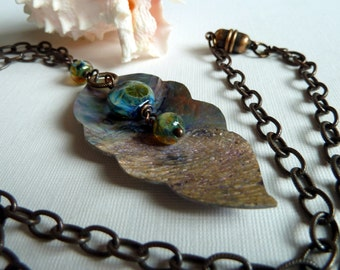 Shell & Lampwork Necklace / Ocean Theme / Blue Green / Silver Gold / Earthy Organic / Nature / Sea Colors / Rustic Shell / *Water Sparks
