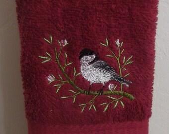 Embroidered ~CHICKADEE BIRD~ Kitchen Bath Hand Towel