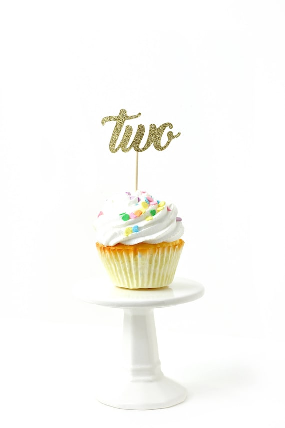 Number Two Gold Glitter Cupcake Toppers, Number Two Toothpicks, Gold Party Decor, Food Decoration, Second Birthday, 2nd Birthday, Two Decor