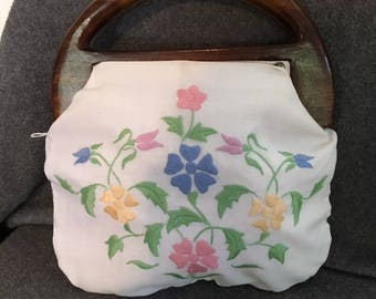 Vintage wooden handled Bermuda bag with cover