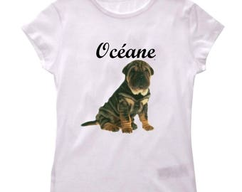T-shirt Sharpei girl personalized with name