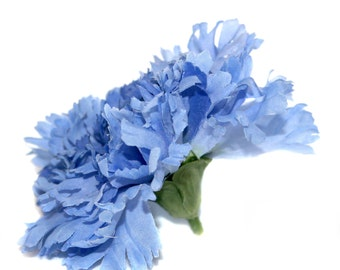 Artificial Carnation - 1 Large 2-Tone Blue Carnation - Silk Flowers, Artificial Flowers
